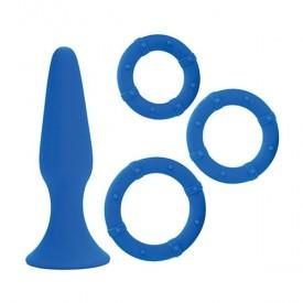 Синий набор Posh Silicone Performance Kits: анальная пробка и 3 эрекционных кольца